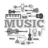 Music instruments circle infographics template concept. Icons design for your product or design, web and mobile Stock Photo