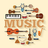 Music instruments circle infographics template concept. Icons design for your product or design, web and mobile Royalty Free Stock Photography
