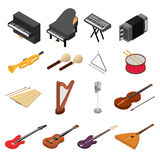 Music Instruments Color Icons Set Isometric View. Vector Royalty Free Stock Image