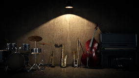 Music instruments. 3D Rendering. Music instruments concept. 3D Rendering Royalty Free Stock Images