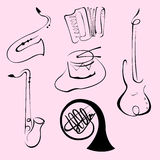 Music Instruments Design Set Stock Photos