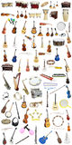 Music instruments. Different music instruments under the white background Royalty Free Stock Images