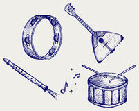 Music instruments. Doodle style Stock Photo
