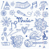 Music instruments and elements Stock Photo