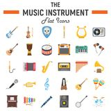Music instruments flat icon set, audio symbols Royalty Free Stock Photo