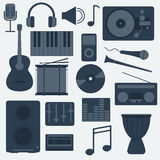 Music Instruments and Gadgets Big vector icon set Stock Photos