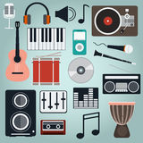 Music Instruments and Gadgets Big vector icon set Stock Photo