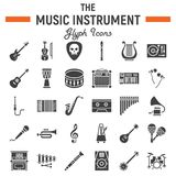 Music instruments glyph icon set, audio symbols. Collection, musical tools vector sketches, logo illustrations, signs solid pictograms package isolated on white Stock Photography