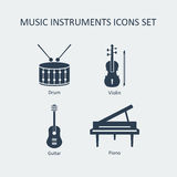 Music instruments icons set. Vector Royalty Free Stock Photo