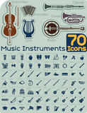 70 Music Instruments Icons Vector Set Royalty Free Stock Photo