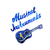 Music instruments lettering concept. Watercolor illustration Stock Image