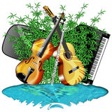 Music Instruments and Nature. For those who loves music Stock Photography