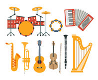 Music Instruments Realistic Drawings Collection Stock Photo