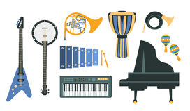 Music Instruments Realistic Drawings Set Royalty Free Stock Photo