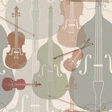 Music instruments seamless background. Music instruments seamless pattern. Stringed musical instrument violin silhouette seamless background Royalty Free Stock Photos