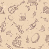 Music instruments seamless pattern Royalty Free Stock Photography