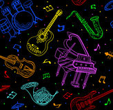 Music Instruments Seamless Pattern Stock Photography