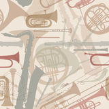Music instruments seamless texture. Music instruments seamless pattern. Musical instrument silhouette repeating background. Vector set Royalty Free Stock Photos