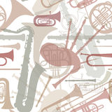 Music instruments seamless texture. Stock Image