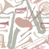 Music instruments seamless texture. Stock Images