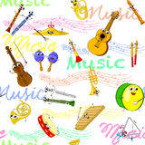Music instruments seamless wallpaper Royalty Free Stock Image