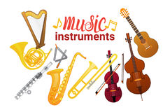 Music Instruments Set Banner With Copy Space Musical Concept Royalty Free Stock Photography