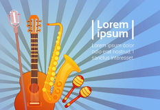 Music Instruments Set Banner With Copy Space Musical Concept. Flat Vector Illustration Royalty Free Stock Photo