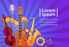Music Instruments Set Banner With Copy Space Musical Concept Stock Image