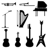 Music instruments. Set of black music instruments illustration Stock Image