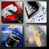 Music instruments. Set of classic music instruments on color background Royalty Free Stock Photography