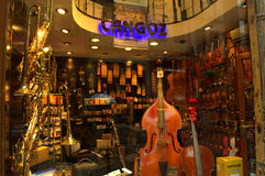 Music instruments shop window Stock Image