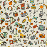 Music instruments sketch, seamless pattern for your design Stock Photography