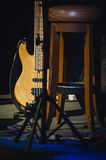 Music instruments on stage in dark studio Royalty Free Stock Photo