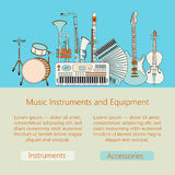 Music instruments thin line icon set for web and mobile. Royalty Free Stock Image