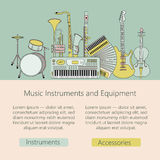 Music instruments thin line icon set for web and mobile. Stock Photo