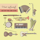 Music instruments thin line icon set for web and mobile. Stock Image