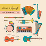 Music instruments thin line icon set for web and mobile. Stock Images