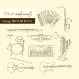 Music instruments thin line icon set for web and mobile. Stock Photos