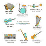 Music instruments thin line icon set for web and mobile. Royalty Free Stock Images