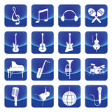 Music instruments vector button. Include guitar, cello, piano, drums Stock Image