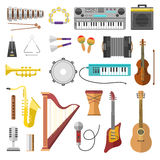 Music instruments vector icons Royalty Free Stock Photography