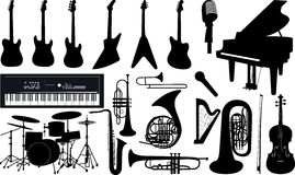Music instruments. Vector set of isolated music instruments Stock Photos