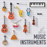 Music instruments on white modern brick wall concept. Icons design for your product or design, web and mobile Stock Image