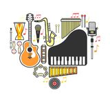 Music instrumets guitar, piano or musical drum vector flat icons Royalty Free Stock Images