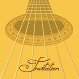 Music invitation with acoustic guitar Royalty Free Stock Photos