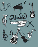 Music items. Digital hand drawn illustration or drawing of some music items such as a microphone, piano, music notes, electric guitar, cornet, drumsticks Stock Images