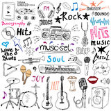 Music items doodle icons set. Hand drawn sketch with notes, instruments, microphone, guitar, headphone, drums, music player and mu Stock Image