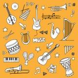 Music items set. Hand drawn Music items set royalty free illustration