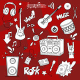 Music items set. Hand drawn Music items set Royalty Free Stock Photos
