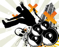 Music Jump. Man music jump  illustration Stock Photography